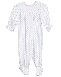 Laura Dare Baby Girls Cotton Rosebud Footed Jumpsuit with Hat, NB