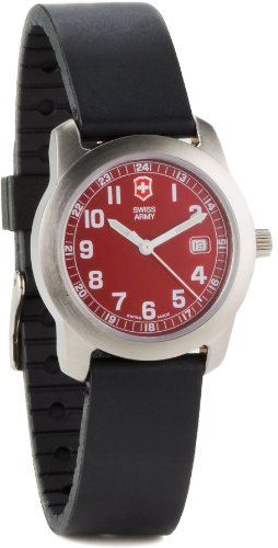Victorinox Swiss Army Field Womens Watch Rubber Sport Strap Date Feature  and HOT RED Dial 24999 d4292625996b