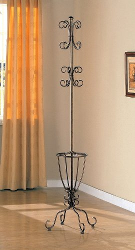 Elegant Antique Gold Finish Metal Coat Rack