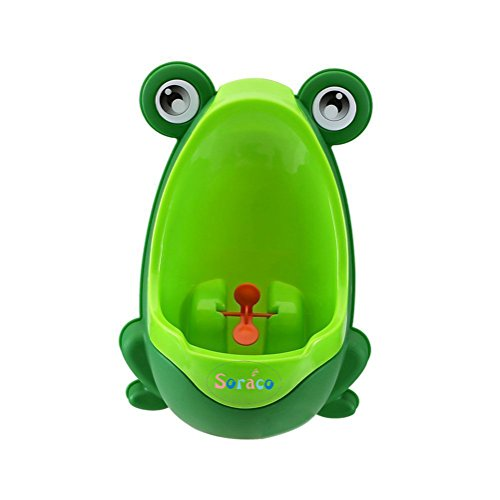 Soraco®Cute Frog Boys Potty Toilet Trainning for Boys Pee Trainer Bathroom Children Uninal with Whirling Target (Green)