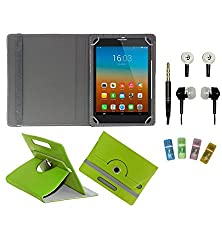 Gadget Decor (TM) PU Leather Rotating 360° Flip Case Cover With Stand For EVU 4.2 Capacitive Tablet + Free Handsfree (Without Mic) + Free USB Card Reader - Green