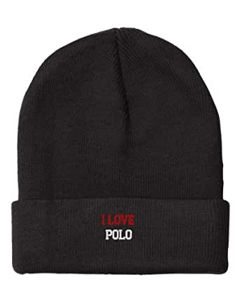 Fastasticdeal I Love Polo Embroidered Beanie Cap