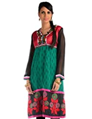 Chhabra555 Art Georgette Green Printed Embroidery Readymade Kurti