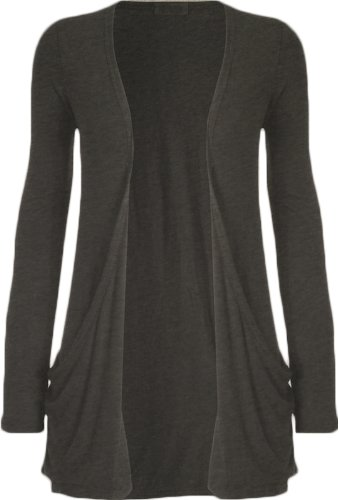 Ladies Long Sleeve Boyfriend Cardigan Womens Top - Charcoal Grey - 12/14