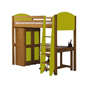 Single High Sleeper Bunk Bed Pieces Included: Bed Frame / Tall Boy / 5 Drawer Chest, Finish: Lime