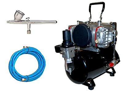 Iwata Revolution CR Airbrushing System with AirBrush-Depot TC-828 Twin Piston Air Compressor w/ Tank