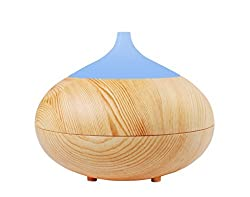 ProtoAir 300ml Essential Oil Diffuser - Ultrasonic Super Quiet Aroma Humidifier for Home Office and Spa. Fast Scent Spreading Aromatherapy with Cool Mist. Wood Grain Design with LED Lights.