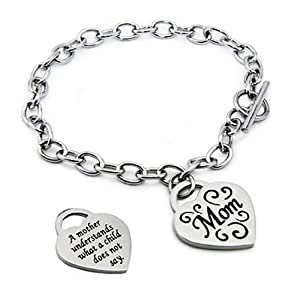 Stainless Steel Mom Heart Tag Bracelet - 7.5 Inches