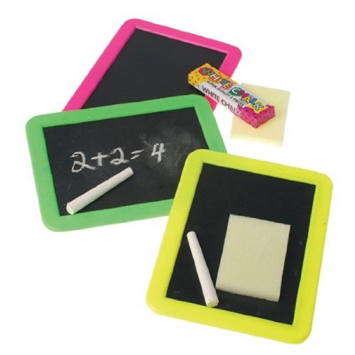 Blackboards W/Chalk And Erasers Blackboard frame colors will vary - neon colors (sold 1 Per Pack) - 1