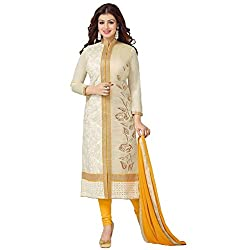 Awesome Fab Off-White and Yellow Colour Mix Cotton Embroidered Semi-stitched Dress Material