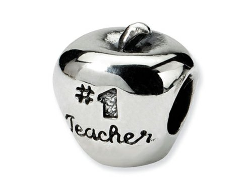Reflections(tm) Sterling Silver #1 Teacher on Apple Bead / Charm