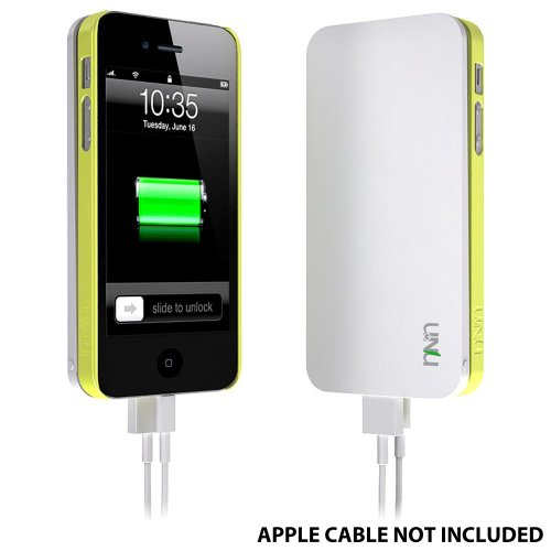 uNu Ecopak iPhone 5 Battery Case - Protective Snap-on Case and Detachable External Battery (White/Leaf Yellow, 2500mah, Fits All Version of iPhone 5)