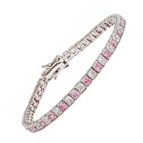C.Z. And Pink 5X5 Princess Cut Rhodium (.925) Sterling Silver Bracelet (Nice Holiday Gift, Special Black Firday Sale)
