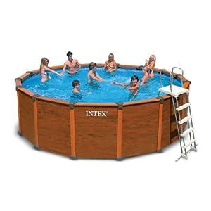 piscine hors sol aspect bois sequoia spirit intex 4m78 x 1m24 jardin. Black Bedroom Furniture Sets. Home Design Ideas