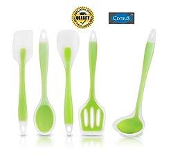 Clytius 5pc Green Premium Kitchen Utensils, 5 Piece Set Includes Non-stick Silicone Ladle, Slotted Turner, Spoon, Spoonula, Spatula By