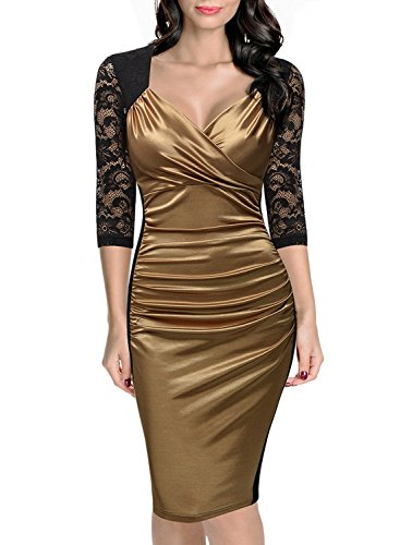 Miusol Women's Deep-V Neck Ruffles Floral Lace Fitted Retro Evening Pencil Dress (Medium, Golden)