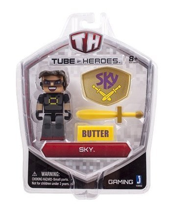 5 Tube Heroes Bundle - 5 Action Figures with Accessories - Captain Sparklez, Exploding TNT, Sky, Ant Venom, Caveman Films by Tube Heros Zoofy International