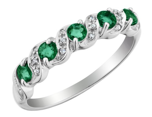 Emerald Ring with Diamonds 1/4 Carat (ctw) in 10K White Gold