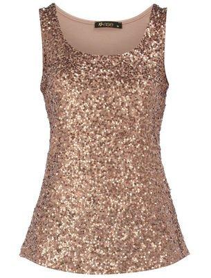 Bronze sequin vest top: Amazon.co.uk: Clothing