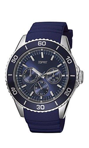 Esprit deviate - Reloj analógico de mujer de cuarzo con correa de caucho azul - sumergible a 30 metros