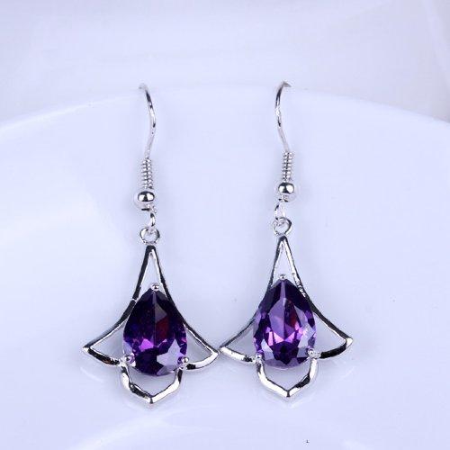 Aokeshen 2pcs Amethyst Drop Charms Fashion Women 925 Sterling Silver Dangle Earrings SF37