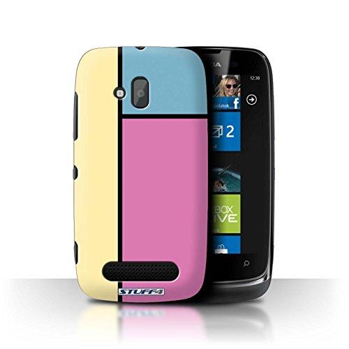 Stuff4 Hülle / Hülle für Nokia Lumia 610 / 3 Fliesen/Rosa Muster / Pastell Fliesen Kollektion