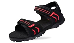 Sparx Mens Black and Red Sandals and Floaters - 9 UK