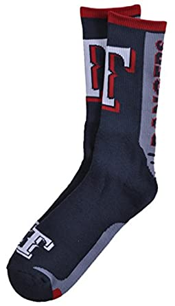Buy For Bare Feet MLB Rangers Jump Key Curve Sport Sock 10-13 by For Bare Feet