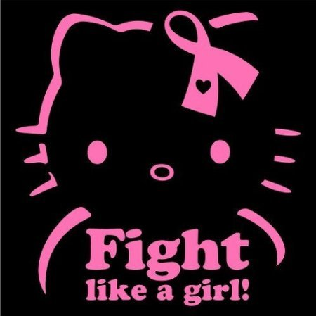 7.5 inch Breast Cancer Fight Like a Girl Hello Kitty Car Window Wall Macbook Notebook Laptop Sticker Decal