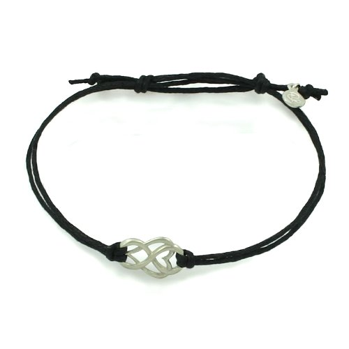 Brushed Silver Let Love Out Mini-Heart Corded Bracelet (Medium, Black)