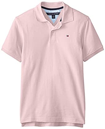 Tommy Hilfiger Big Boys' Short Sleeve Ivy Polo-Spring CLR, Cotton Candy, Small