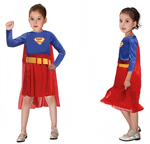 Children's Halloween Costume Sets, Deluxe Halloween Cosplay Costume for Girls, Princess Costume for Toddler, Fancy Dress for Costume Ball (XL Size, (Superman Fancy Dress Costume)