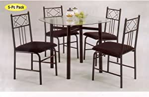 Charming Table And Chairs Dining Set Black Finish Table