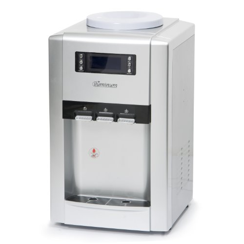 Iluminum Ilus207-3 22-Inch Tabletop Water Cooler Dispenser With Lcd Display Hot, Cold And Room Temperature, Silver