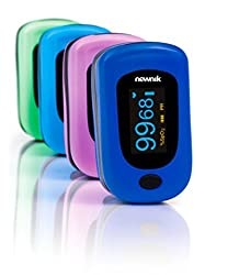 Newnik Fingertip Pulse Oximeter With Audio-Visual Alarm, Royal Blue