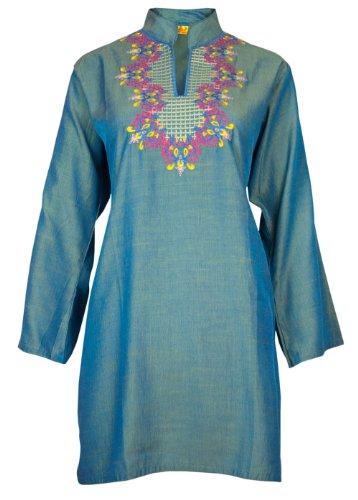 Ladies Indian Embroidered Long Sleeve Kurta-Kurti Tops Turquoise KL329617-FREE SHIPPING