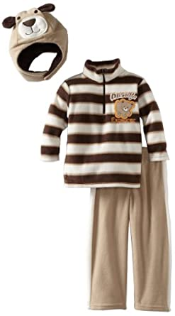 Little Rebels Boys 2-7 3 Piece Wildlife Explorer Fleece Set, White Open, 2T