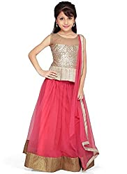 new arrival designer pink net partywear kids lehenga choli (30 inches(9-10 year))