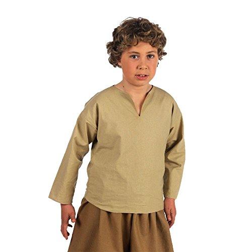 media-eta-camicia-per-bambini-drappeggi-medievale-beige-beige-beige-9-11-jahre