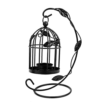 Tinksky Hanging Candle Holder Stand Candlestick Candle Cage Lantern (Black)