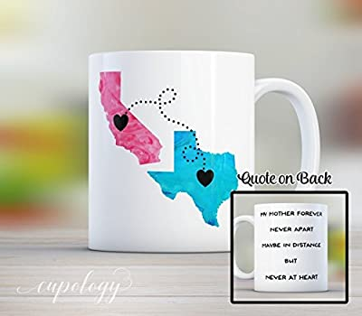 Mom, Personalized Long Distance State Mug with quote, 11oz or 15oz