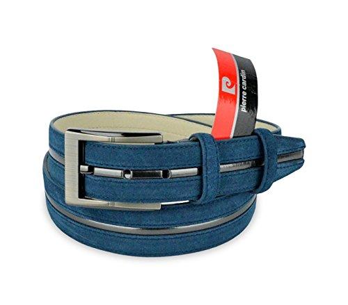 R003 Cintura regolabile uomo Pierre Cardin in pelle scamosciata. MEDIA WAVE store (120cm, Blu)