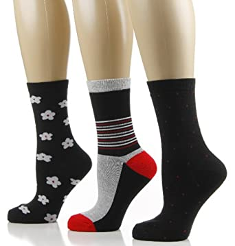 Women's Crew Socks - 3 PK - Size 9-11 - Floral/Stripe (Black/Gray/Red)