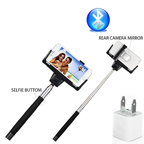 Selfie Stick For Cell Phone - Bluetooth Wireless Extendable Camera Shooting Monopod - 60 Days Money Back Guarranty - Selfie Handheld Stick Pole With Mount Holder And Super Clear Rear-Camera - Designed For Apple Iphone 6 Plus 6 5S 5C 5 4S Samsung Galaxy Al