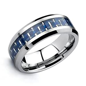 Bling Jewelry Mens Tungsten Carbide Ring Carbon Fiber Cobalt Blue Inlay 8mm - Size 10