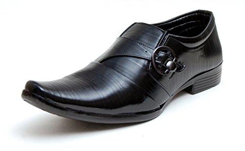 Oora Black With Fine Lining Design & Buckle Slip On Formal Shoes For Men