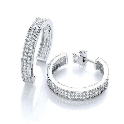 J R Jewellery 421385 J - JAZ Sterling Silver Micro Pave Square Cubic Zirconia Earrings