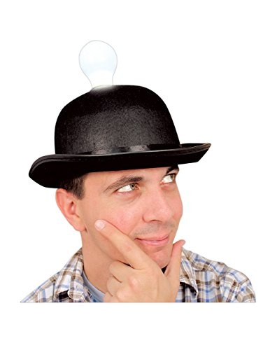 Humorous novelty Bright Idea Light Bulb Hat - With Removable Plastic Bulb
