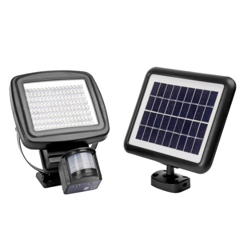 Microsolar - 126 Led - Lithium Batterty - Digitally Adjustable Time & Lux With Button - Vertically And Horizontally Adjustable Light Fixture - Solar Motion Sensor Light
