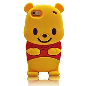 iPhone 6 Plus 6S Plus Case, Anya 3D Cute Bow Superhero Series Style Cartoon Soft Rubber Silicone Back Shell Case Cover Skin for Apple Iphone 6 6S Plus 5.5 inch Winnie the Pooh Beer at Gotham City Store